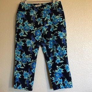 Talbots Tropical Print Capri Pants Size 12P